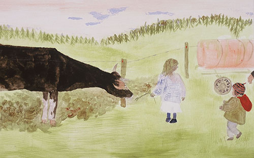 """© Daniela Hantsch, """"Petersiel und Suppenkrau"""" (Ausschnitt), Öl/Baumwolle, 160 x 200 cm, 2001"""