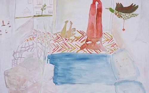 "© Daniela Hantsch, ""Turnen mit Papa""(Ausschnitt), Öl auf Leinwand, 115x70 cm, 2002"