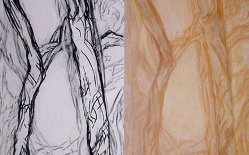© Gerlinde Thuma, gleichung aeolus, Kohle, Acryl/ Leinwand, 110 x 140 cm