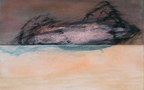 © Gerlinde Thuma, um die mitte 06, 30 x 40 cm, Kohle, Acryl/ Leinwand