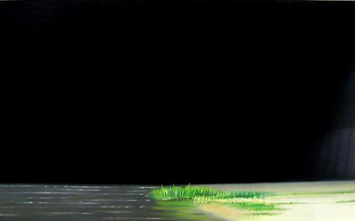 "© René Herar, Kanal, Serie ""Blurred Landscapes"", Öl auf MDF-Platte, 49 x 85 cm, 2008"