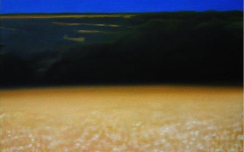 "© René Herar, Korn, Serie ""Blurred Landscapes"", Öl auf MDF-Platte, 56 x 84 cm, 2007"