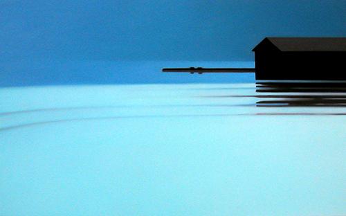 "© René Herar, Salzkammergut, Serie ""Blurred Landscapes"", Öl auf MDF-Platte, 48 x 84 cm, 2008"