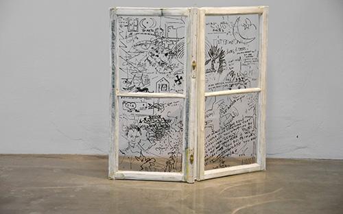 © Dialog, 2008, Papierobjekt Fenster, 100 x 100x 10 cm, Foto: Faksimile digital