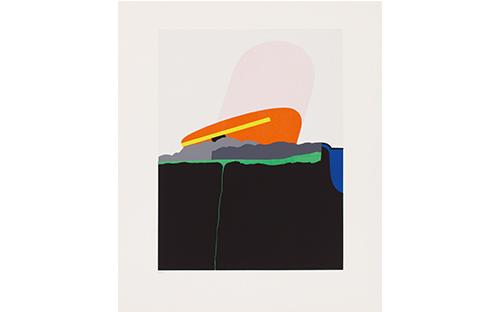 © Fritz Steinkellner, Berge mit Objekt I,Siebdruck, 58 x 44,5 cm, 1970
