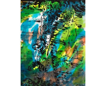 © Roman Scheidl, Die Brücke, Japanische Tusche über Alkoholfarbe auf Papier, 2014, 112 x 86 cm