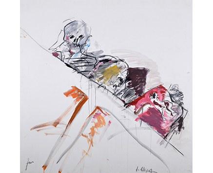 © Ateliergeister, Öl, Acryl, Kohle auf Leinwand, 2012, 130 x 130 cm, Foto: Karl Dworschak
