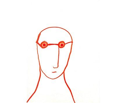 """© Franz Blaas, """"Autoritratto"""", Buntstifte, 21 x 15 cm, 2002"""