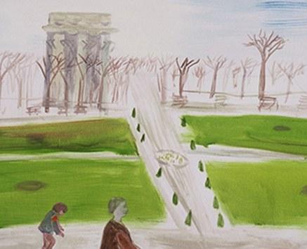 """© Daniela Hantsch, """"Im Augarten 1"""" (Ausschnitt), Öl auf Baumwolle, 90x160 cm, 2002"""